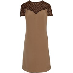 1960s T. Prata  Brown Embroidery Italian Tailor Oversize Cocktail Mod Dress