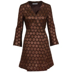Cadette Brown Lurex Jacquard Mod Overcoat, 1960s