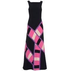 1970s MILA SCHÖN Black Patchwork Long Dress