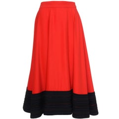 1980s GENNY Red Skirt With Black Braid Hem