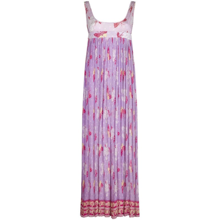 Vintage 1970s Purple Butterfly Fortuny Style Empire Line Dress