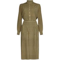 885df461d Hermes 1970s Silk Sage Green Oakleaf Print Blouse and Skirt Suit