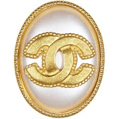 Chanel Gold Pearl Oval Cameo Double CC Brooch, 1990s