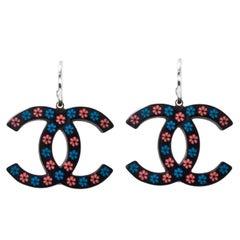 Chanel Black, Blue & Pink Floral CC Pierced Earrings