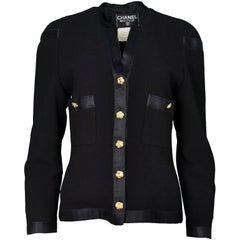Chanel Vintage '90s Black Boucle Jacket w/ Camelia Buttons sz 6
