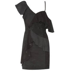 Alice and Olivia Black Suede Floretta Ruffle Dress size US 0