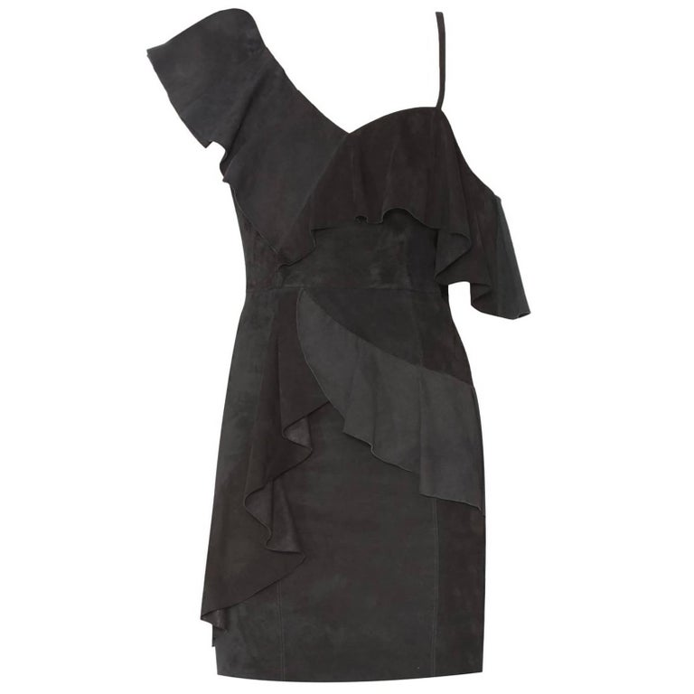 cef0f4e639 Alice and Olivia Black Suede Floretta Ruffle Dress size US 0 For Sale