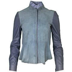 Elie Tahari Grey-Blue Suede & Leather Jacket sz XS