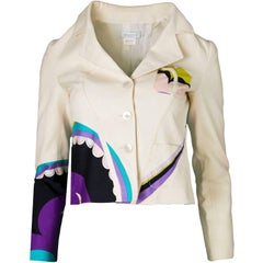 Emilio Pucci Beige & Multi-Colored Printed Jacket sz US4