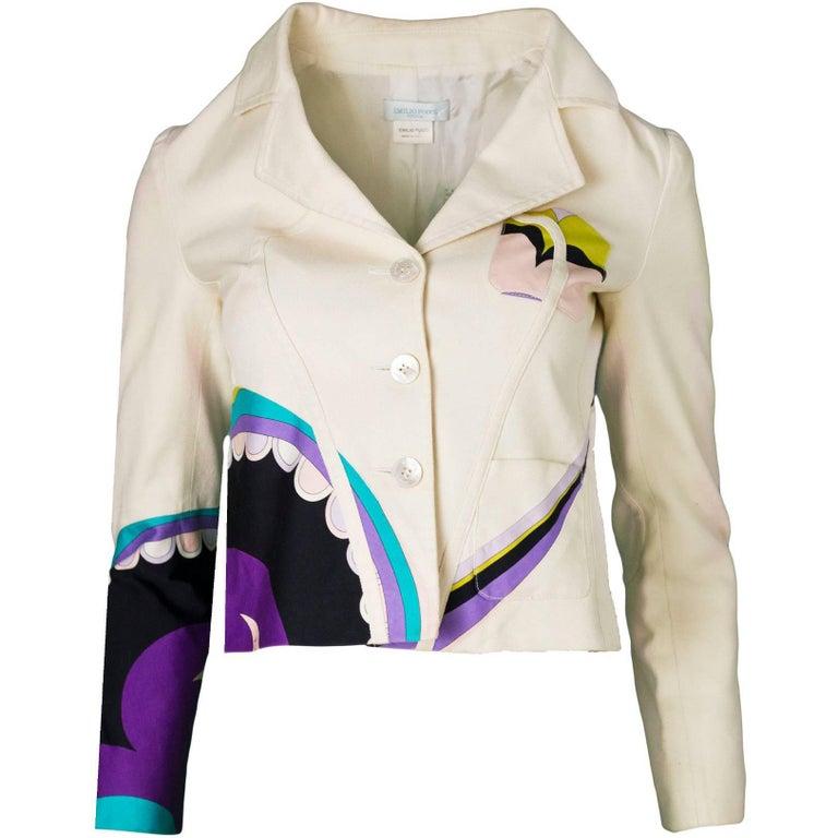 Emilio Pucci Beige & Multi-Colored Printed Jacket sz US4 For Sale
