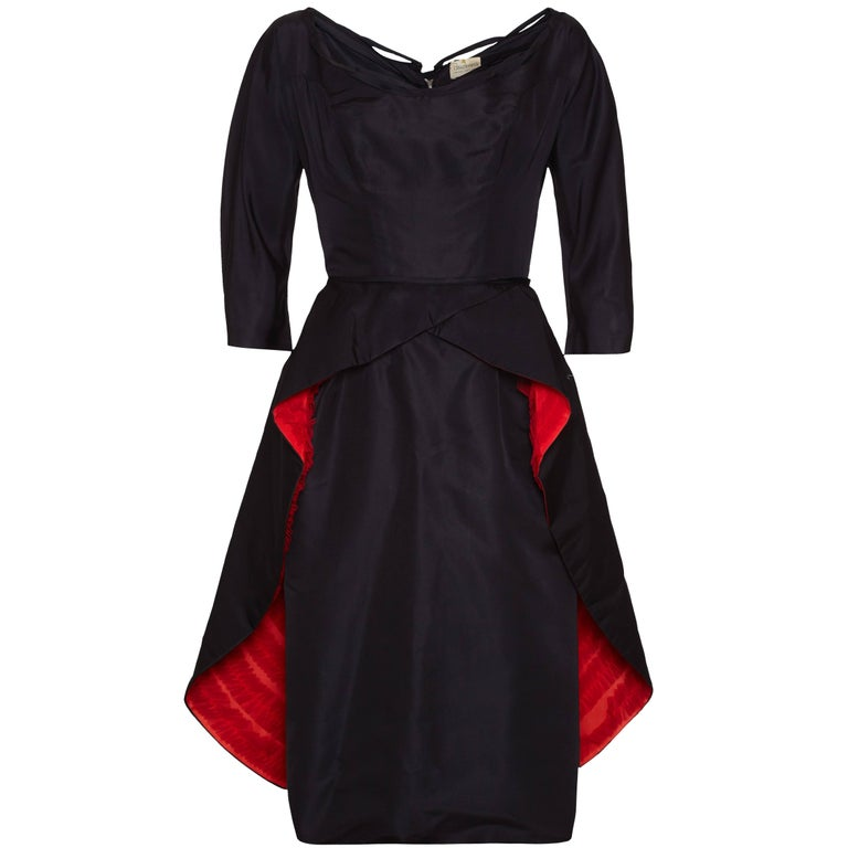 Ceil Chapman Matador Style Black Silk Dress, 1940s