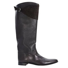Hermes Brown Leather and Suede Tall Boots