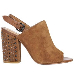 Tan Coach Suede Studded Slignback Mules