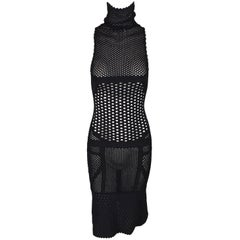 Gianfranco Ferre Sheer Black Fishnet Mesh Bodycon Logo Dress, F/W 2000