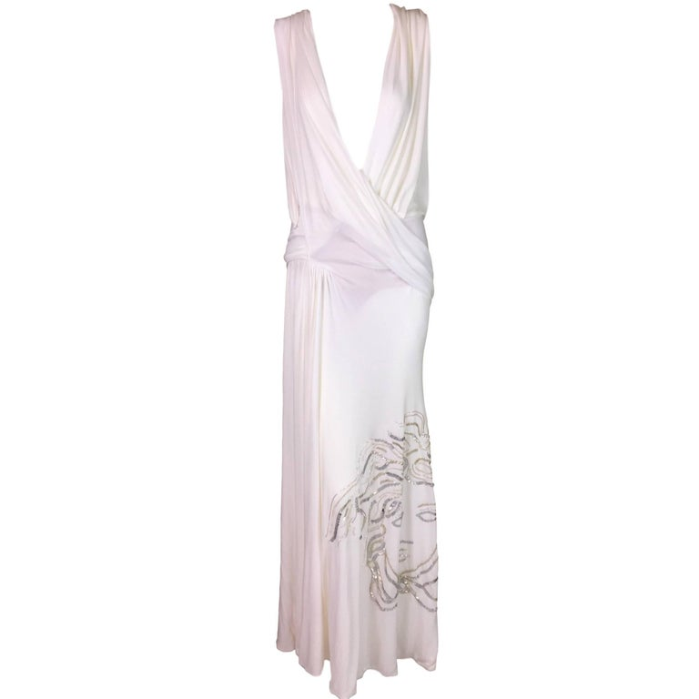 F/W 1999 Atelier Versace Sheer White Plunging Beaded Medusa Gown Dress