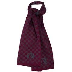 Louis Vuitton Burgundy & Grey Petit Damier Wool Scarf