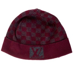 Louis Vuitton Burgundy & Grey Wool Bonnet Petit Damier Beanie Hat