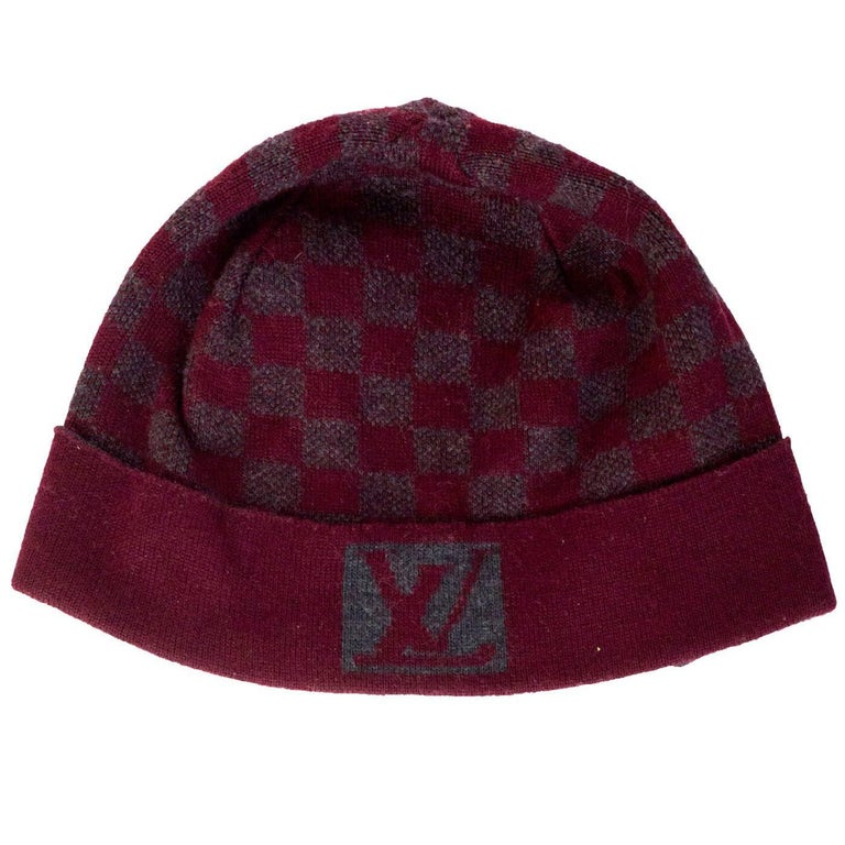 f4ea7713b078c Louis Vuitton Burgundy   Grey Wool Bonnet Petit Damier Beanie Hat For Sale