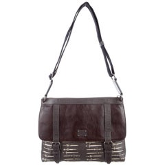 Dolce & Gabbana New Brown Leather Canvas Men's Carryall Travel Shoulder Bag