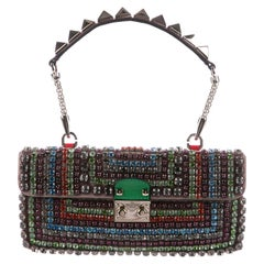 Valentino New Multi Color Crystal Top Handle Satchel Evening Bag