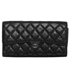 Chanel Black Quilted Caviar Leather XL Wallet/Clutch Bag