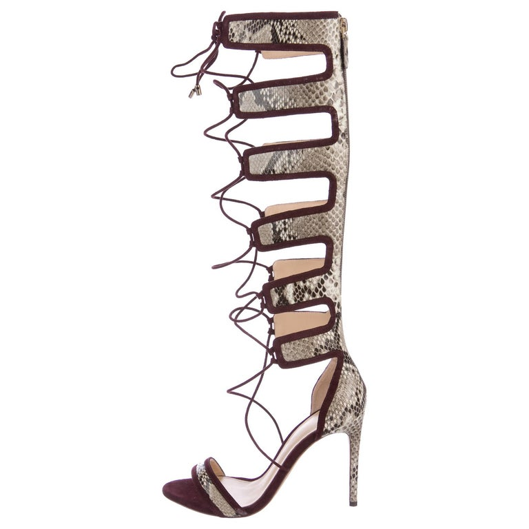 Alexandre Birman New Snake Suede Cut Out Tie Evening Heels in Box