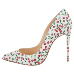 Christian Louboutin New White Red Leather Fruit Evening Pumps Heels