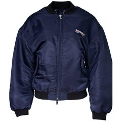 Balenciaga 2017 Men's Navy Wobble Embroidered Bomber Jacket sz L/XL