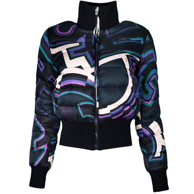 Emilio Pucci Black Printed Puffer Jacket sz US 4