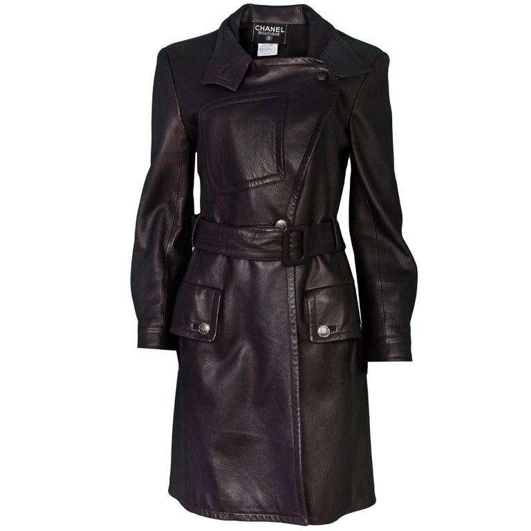 Chanel Dark Brown Leather Trench Coat sz FR42