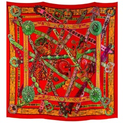 Hermes Red Cashmere & Silk Le Song a la Licorne Shawl