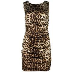 Dolce & Gabbana Leopard Ruched Dress Sz IT42