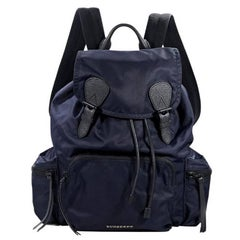 Burberry Navy Blue and Black Nylon Backpack