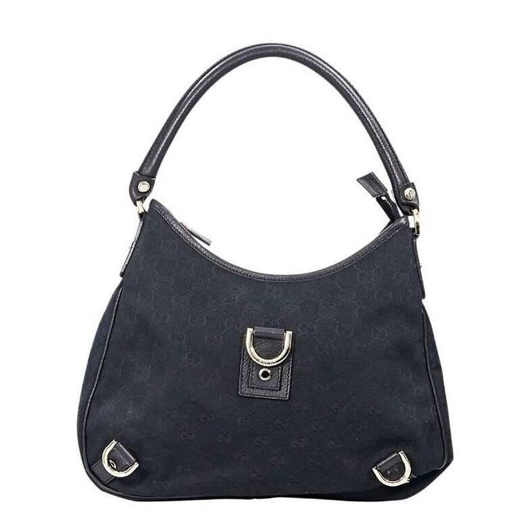 Gucci Black Canvas GG Shoulder Bag