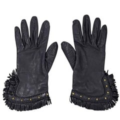 Black Hermes Leather Fringe Gloves