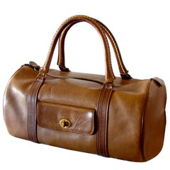 Bonnie Cashin for Coach Safari Bag Duffel Tote Carry On Saddle Leather, 1960s