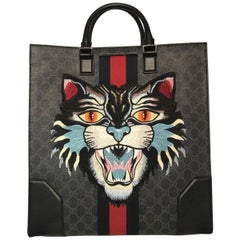 Gucci Black Canvas GG Supreme Tote Bag