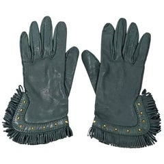 Green Hermes Leather Fringed Gloves