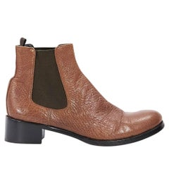 Brown Prada Leather Chelsea Ankle Boots
