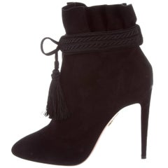Aquazzura New Black Suede Tassel Ankle Boots Booties in Box
