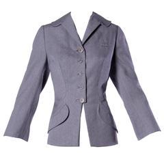 Spectacular Irene Lentz Vintage 1940s 40s Gray Wool Blazer Jacket