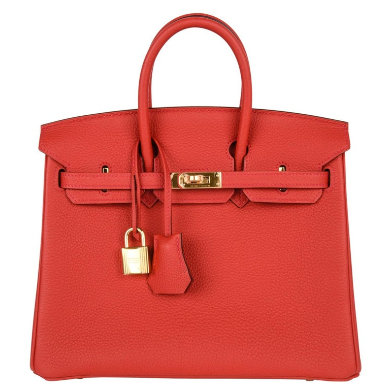 Hermes Birkin Bag 25 Geranium Red Gold Hardware Togo Leather For