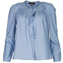 Isabel Marant Baby Blue Silk Pleated Blouse sz FR34