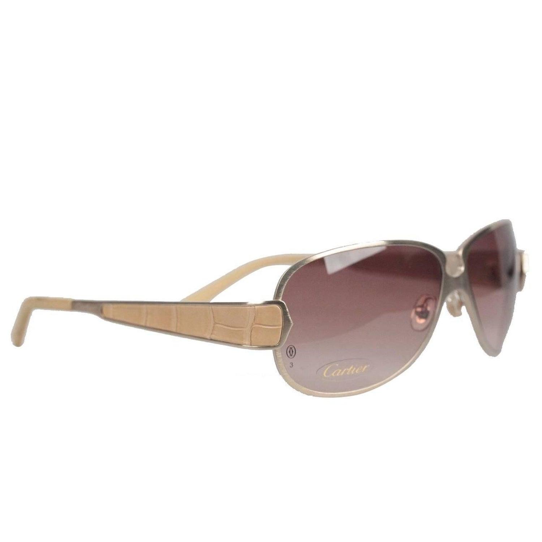90414235bc57 CARTIER Paris EDITION C de CARTIER T8200724 Gold Beige Leather Sunglasses  For Sale at 1stdibs