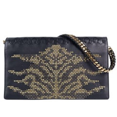 Roberto Cavalli Womens Black Leather Gold Black Studded Flap Handbag~RTL$2050