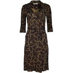 Diane von Furstenberg Black, Brown and Beige Wrap Dress