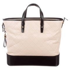 Chanel New Ivory Black Leather Top Handle Weekender Travel Shoulder Tote Bag