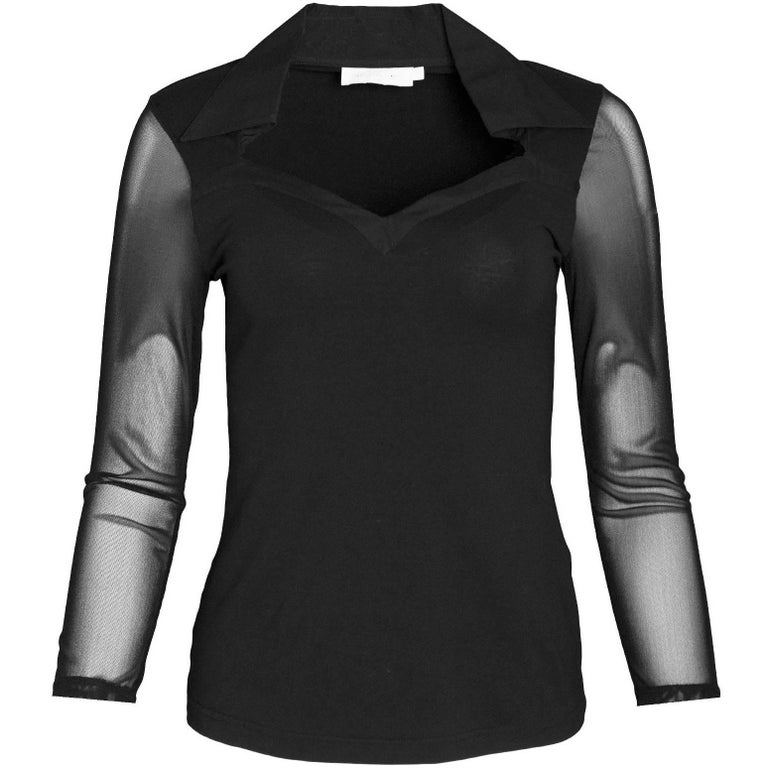Anne Fontaine Black Sheer Longsleeve Top Sz FR38 For Sale
