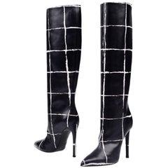 Balenciaga New Runway Black White Leather Knee High Boots