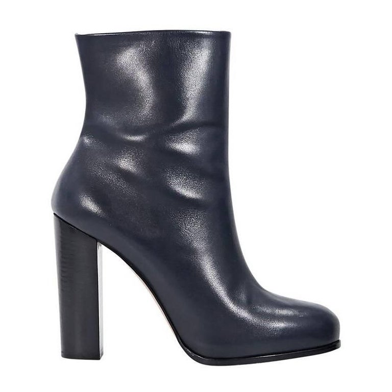 Navy Blue Celine Leather Ankle Boots For Sale At 1stdibs